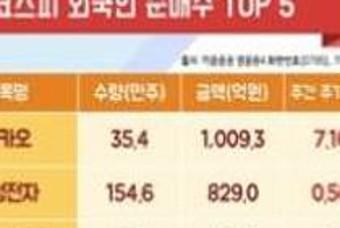외국인, 기관 순매수 TOP 5