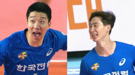 박철우-신영석의 연속 득점으로 앞서나가는 한국전력