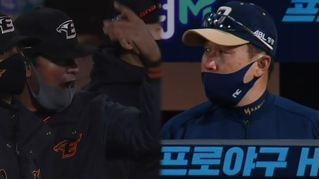 '정진호 등판' 양 팀 더그아웃의 미묘한 분위기 / 8회말